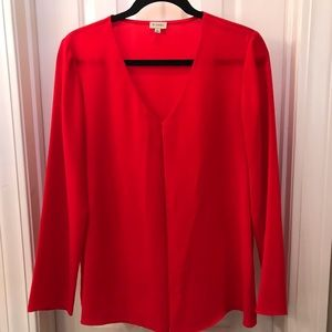Tops - Red Pleat Front Blouse